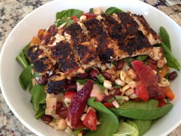 Blackened Mahi Mahi Salad with Black bean & Corn Salsa « Chris ...
